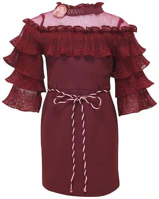Cutecumber Partywear Dress For Girls Maroon