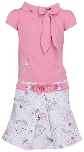 Cutecumber Girl Georgette Top & Bottom Set - Pink