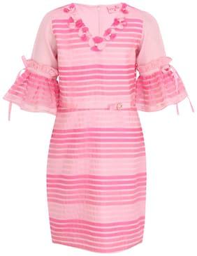 Cutecumber Pink Georgette Short Sleeves Knee Length Princess Frock ( Pack of 1 )
