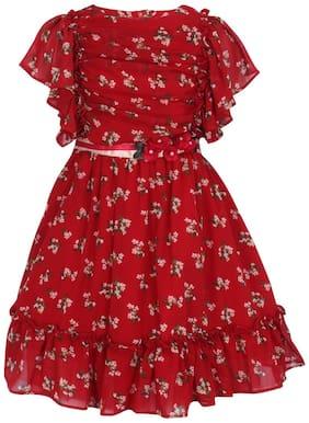 Cutecumber Red Georgette Short Sleeves Knee Length Princess Frock ( Pack of 1 )