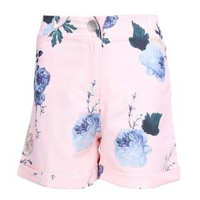Cutecumber Girl Georgette Floral Regular shorts - Pink