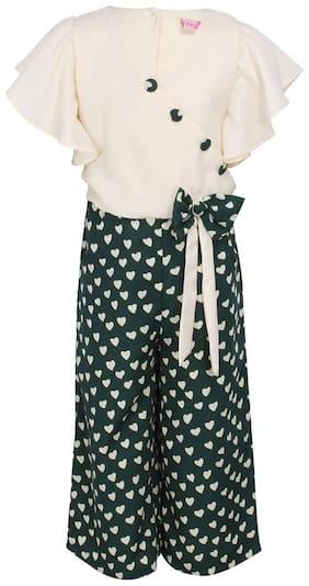 Cutecumber Georgette Printed Onesies For Girl - Green & White