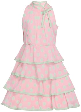 Cutecumber Pink Polyester Sleeveless Knee Length Princess Frock ( Pack of 1 )
