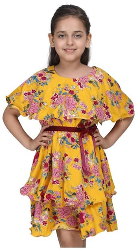 Cutecumber Yellow Polyester Sleeveless Knee Length Princess Frock ( Pack of 1 )