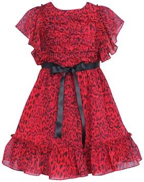 Cutecumber Baby girl Georgette Printed Princess frock - Red