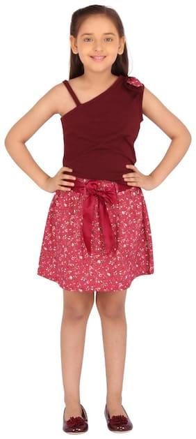 Cutecumber Girl Knitted Top & Bottom Set - Maroon