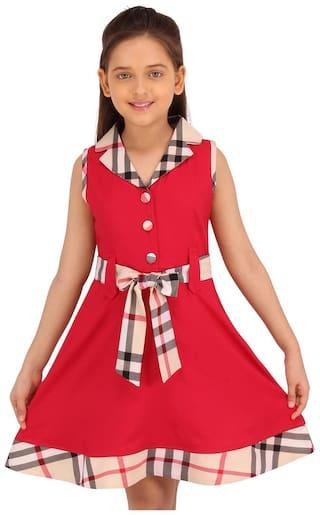Cutecumber Red Smart casual Checkered Printed Sleeveless Dress