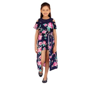 Cutecumber Blue Polyester Sleeveless Knee Length Princess Frock ( Pack of 1 )
