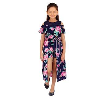 Cutecumber Blue Polyester Sleeveless Knee Length Princess Frock ( Pack of 1 )