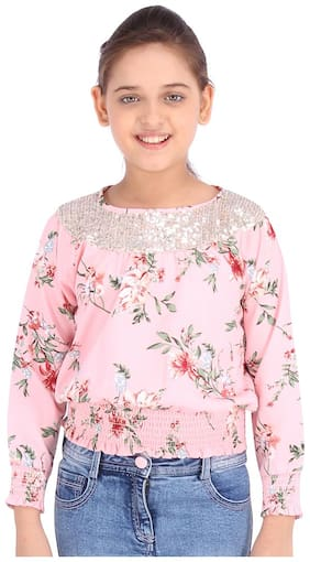 Cutecumber Girl Polyester Embellished Top - Pink