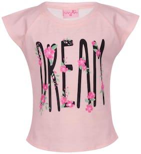 Cutecumber Girl Knitted Printed T shirt - Pink