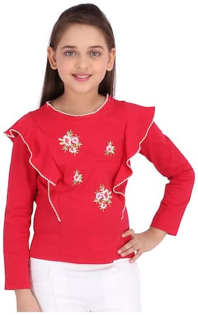 Cutecumber Girl Knitted Embellished Top - Red