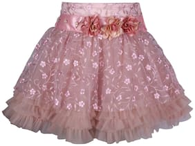 Cutecumber Girl Net Solid A- line skirt - Pink