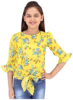 Cutecumber Girl Georgette Floral Top - Yellow
