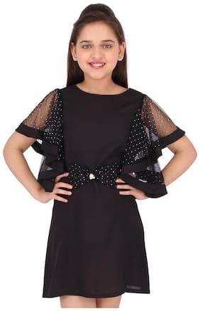 Cutecumber Black Georgette Short Sleeves Knee Length Princess Frock ( Pack of 1 )