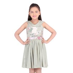 Cutecumber Green Satin Sleeveless Knee Length Princess Frock ( Pack of 1 )