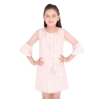 Cutecumber Beige Satin 3/4th Sleeves Knee Length Princess Frock ( Pack of 1 )