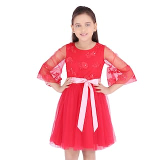 Cutecumber Smart Casual Embroidered Dress Red