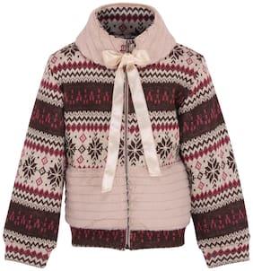 Cutecumber Girl Knitted Printed Sweatshirt - Brown