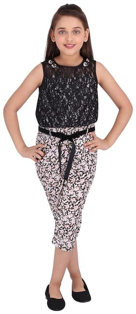 Cutecumber Georgette Floral Bodysuit For Girl - Black