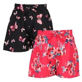 Cutecumber Girl Polyester Floral Regular shorts - Multi