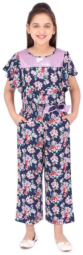 Cutecumber Polyester Floral Bodysuit For Girl - Blue