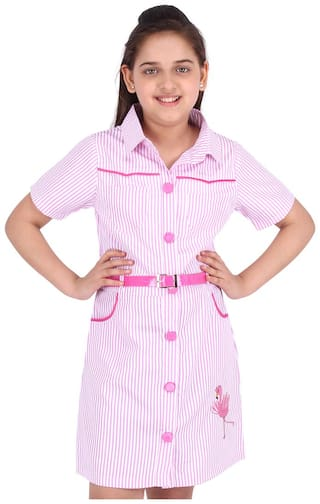 Cutecumber Pink Polyester Short Sleeves Knee Length Princess Frock ( Pack of 1 )