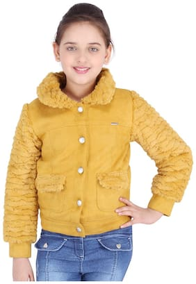 Cutecumber Girl Polyester Solid Winter jacket - Yellow