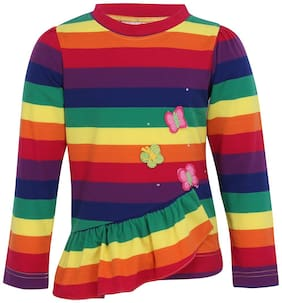 Cutecumber Knitted Striped Top for Baby Girl - Multi