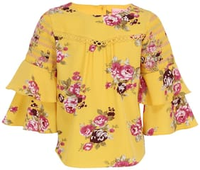 Cutecumber Girl Georgette Floral Top - Yellow