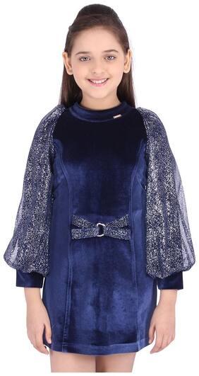 Cutecumber Blue Net Full Sleeves Knee Length Princess Frock ( Pack of 1 )