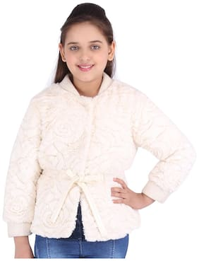 Cutecumber Girl Polyester Solid Winter jacket - Cream