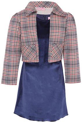 Cutecumber Blue Polyester Full Sleeves Knee Length Princess Frock ( Pack of 2 )