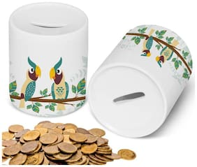 Cylindrical Ceramic Piggy Money Bank for Cash and Coin- Birthday Gifts Toy Gifts for Kids (Bird Theme, White)