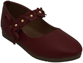 D'chica Maroon Ballerinas For Infants