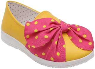 D'chica Yellow & Pink Casual Shoes For Girls