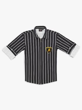 DANABOI Boy Cotton blend Striped Shirt Black