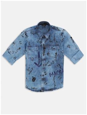 DANABOI Boy Cotton Striped Shirt Blue