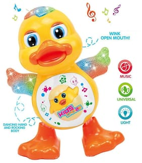 Dancing Duck Toy with Real Dancing Action & Music Flashing Lights, Multi Color
