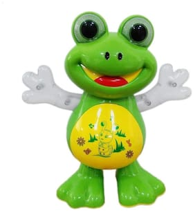 Dancing Frog Battery Operated Toy Figure Side-to-Side Dancing Action, Flashing Lights, Music