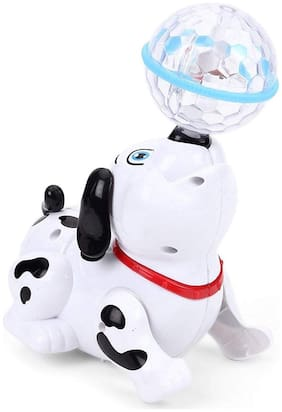 Dancing Rotating Dog Toy With Music Sound 3D LED Light For Baby Children Kids (1Pc) White Color