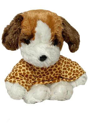 DANR Brown Color Sitting Soft Dog Toy with Leopard Print Jacket on. (Size :-33 cm)