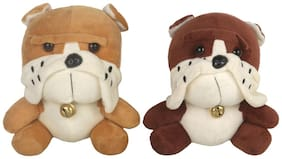 DANR Soft Stuffed Spongy Huggable Cute Sitting Dog-Soft Animal Toy for Kids Pack of 2 - 16cm