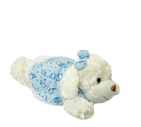 DANR Super Soft White Laying Dog Toy with Bow Matching to it s Flowery Jacket. Super Soft Hugging Cuddly Dog Toy (Blue)