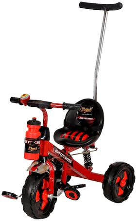 Dash Motocross Stylish Tricycle with Strong Frame, Cute Bell, Footrest, High Back Rest n Parent Push Handle (Red)