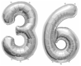 "De-Ultimate (16"" Inch Size) Numerical Number Two Digit 36 Solid (Silver) Color 3D Foil Balloons For Kids Party Supplies, Birthday And Anniversary Parties Decoration And Celebration"