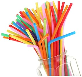 """De-Ultimate Pack of 100 Pcs Multicolor 10"""" Inch Disposable Plastic Drinking Magic Straw (Pack of 100)"""