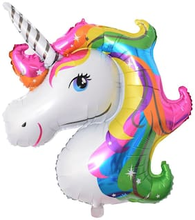De-Ultimate Unicorn Head Shape 3D Foil Large Balloons With 1 Straw/Tube Foil (Multicolor) Helium/Air Balloons For Children Birthday Parties Celebration & Decoration