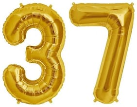 De-Ultimate (16 Inch Size) Numerical Number Two Digit 37 Soild (Golden) Color 3D Foil Balloons For Kids Party Supplies;Birthday And Anniversary Parties Decoration And Celebration