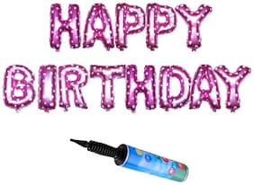 De-Ultimate Happy Birthday (13 Alphabets) Letter Foil Solid Pink Color Helium/Air Balloon & Inflator Portable Hand Held Air Pump Toy For Valentine Day/Anniversary Party Decoration (Pack Of 14)